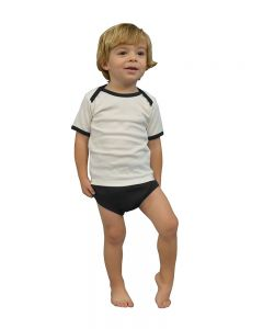 Interlock Lap-T/Diaper Cover Set-White/Black-18-24m