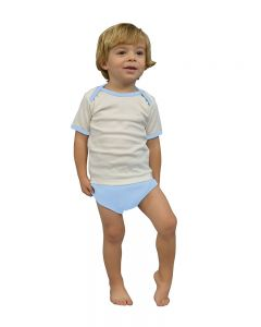 Interlock Lap-T/Diaper Cover Set-White/Sky-0-3m