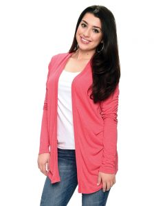 Long Sleeve Open Heather Jacket-Heather Red-XS