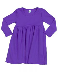 Interlock Long Sleeve Empire Dress-Purple-2