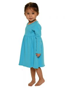 Interlock Long Sleeve Empire Dress-Turquoise-2