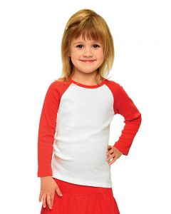 Baby Rib Long Sleeve Girls Raglan Tee-White/Pink-6-12m