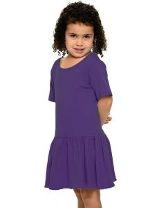 Interlock Short Sleeve Pleated Dress-Purple-2