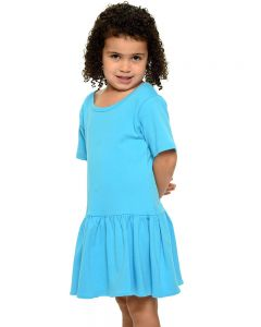 Interlock Short Sleeve Pleated Dress-Turquoise-2