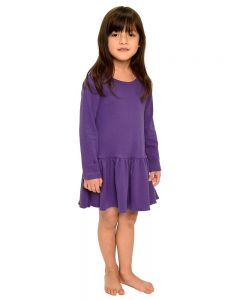 Interlock Long Sleeve Pleated Dress-Purple-2