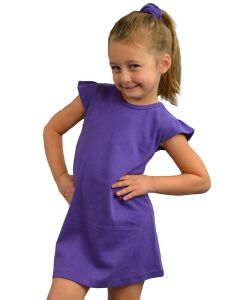 Interlock Flutter Sleeve Dress-Purple-2