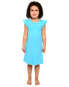 Interlock Flutter Sleeve Dress-Turquoise-2