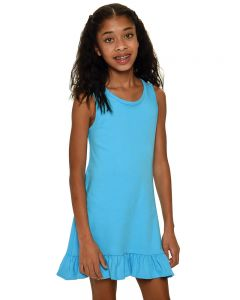 Interlock Ruffle Tank Dress-Turquoise-2