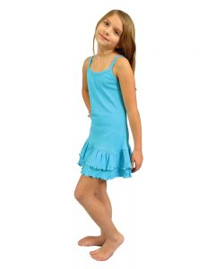 Toddler Spaghetti Strap Layered Dress-Turquoise-2y