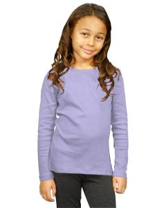 Youth Interlock Long Sleeve Girls Tee-Lavender-Youth S