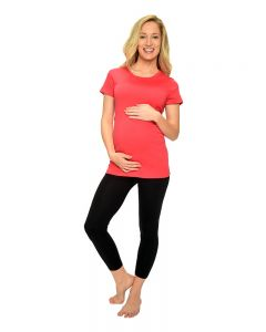 Fine Jersey Short Sleeve Maternity Tee-Black-S