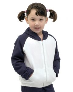 Infant Fleece Raglan Zip Hoodie-White/Navy-6-12 m