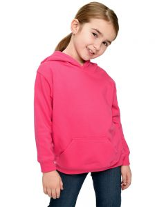 Youth Fleece Hooded Pullover-Fuchsia-Youth S
