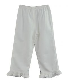 Toddler Ruffle Bottom Pants-White-2y