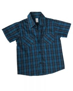 Short Sleeve Navy Plaid Button Down Shirt