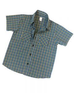 Short Sleeve Blue Black Plaid Button Down Shirt