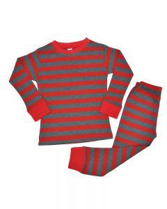 Heather and Red Toddler Striped Shirt and Pants Set