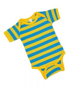 Blue and Yellow Striped Bodysuit