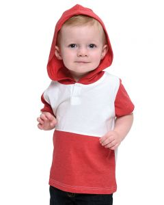 Vintage 2 Color Tee with Hoodie-White/Heather Red-6-12m