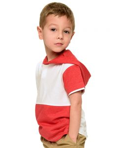 Toddler Vintage 2 Color Tee with Hoodie-White/Heather Red-2y