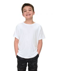 Youth Polyester Short Sleeve Crew Neck Tee-White-YS
