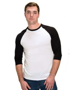 Polyester 3/4 Sleeve Raglan Tee-White/Black-3XL
