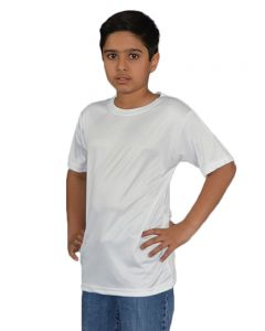 Youth Micropoly Short Sleeve Crew Neck Tee-White-YXL