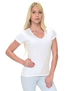 MicroPoly Short Sleeve Classic V-Neck Tee-White-S