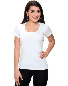 MicroPoly Short Sleeve Scoop Neck Tee-White-S