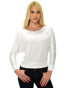 MicroPoly Long Sleeve Off Shoulder Tee-White-S