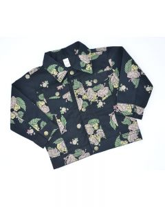 Floral Denim Jacket-Black-2y