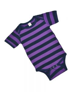 Purple and Navy Striped Baby Bodysuit