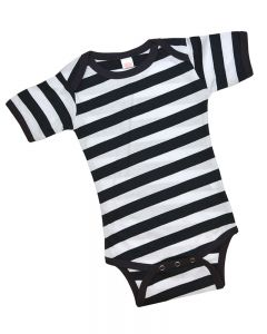 Black and White Striped Short Sleeve Bodysuit