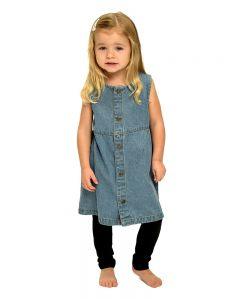 Infant Denim Front Button Dress-Medium Wash-12-18m